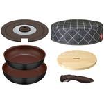 サーモス 取っ手のとれるフライパン 6点セット ブラック(BK) ( フライパン26cm・28cm / 専用取っ手 / 専用フタ / 木製フレート付き 保温カバー ) KFA-SET6