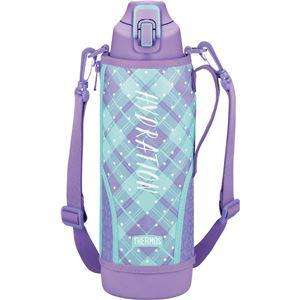【サーモス】 真空断熱 スポーツボトル/水筒 【パープルチェック 1.5L】 幅9.5cm 軽量 保冷専用 魔法瓶式 〔アウトドア〕
