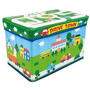 子供用 おもちゃ収納ボックス 【幅480mm】 耐荷重80kg クッション材入り 『遊べるストレージボックス ドライブタウン』 - 拡大画像