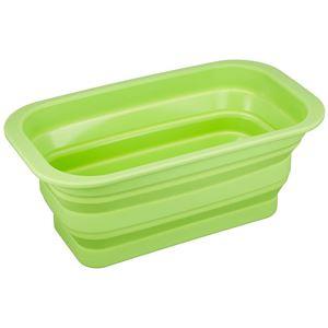 アイメディア たためるシリコン洗い桶 グリーン スリムタイプ