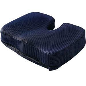 低反発クッション/座布団 【ネイビー】 幅40.5×奥行32×高さ7cm 立体フォーム 洗える専用カバー - 拡大画像