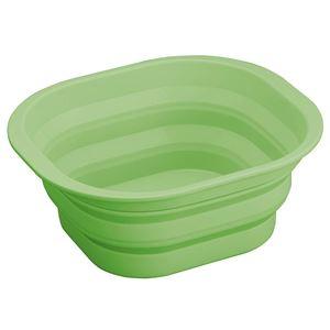 たためるシリコン製 洗い桶/ウォッシュタブ 【グリーン】 幅35×奥行30×高さ14.5cm 〔アウトドア バーベキュー キッチン用品〕 - 拡大画像