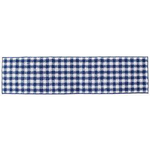 キッチンマット ギンガムチェック ブルー 45×120cm (インテリアマット)