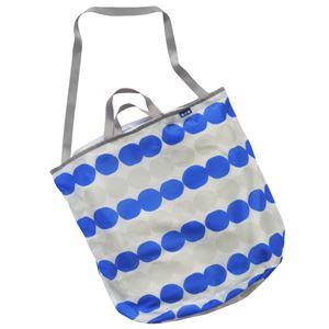 (まとめ) ランドリートートバッグ/洗濯用品 【ブルー L】 洗濯ネット 洗濯かご ランドリーバッグ 【×48個セット】 - 拡大画像