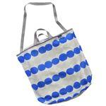 (まとめ) ランドリートートバッグ/洗濯用品 【ブルー L】 洗濯ネット 洗濯かご ランドリーバッグ 【×48個セット】