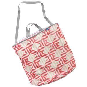 (まとめ) ランドリートートバッグ/洗濯用品 【レッド L】 洗濯ネット 洗濯かご ランドリーバッグ 【×48個セット】 - 拡大画像