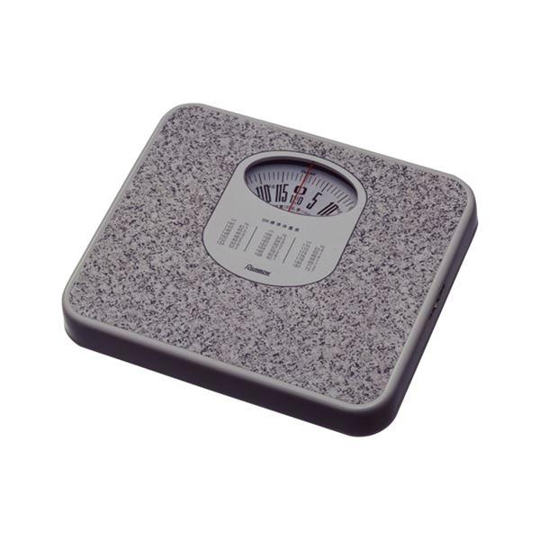 (まとめ) 体重計/ヘルスメーター 【アナログ】 コンパクト 電池交換不要 点調節つまみ付き ストーンホワイト 【×6個セット】