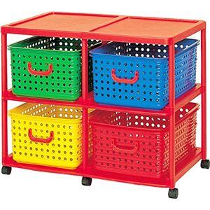子供用 おもちゃ収納/収納棚 【大型 4型】 幅87cm キャスター付き 『キッズ ビッグバスケット』 〔子ども部屋 リビング〕 - 拡大画像