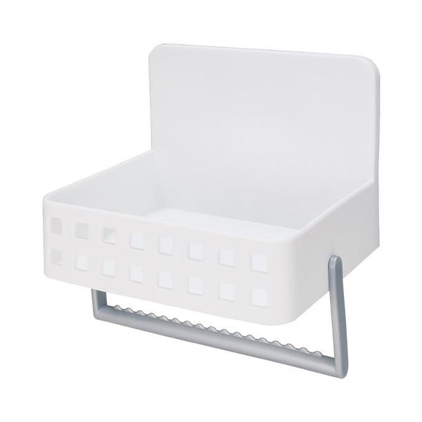 Mag-On 洗剤ラック 吸盤付き ホワイト (タオル掛け付き 小物入れ)