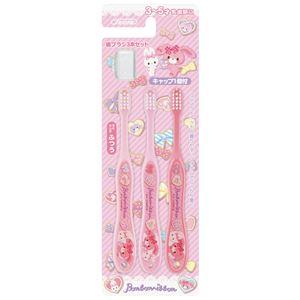 (まとめ)ぼんぼんりぼん 歯ブラシ 園児用 ピンク 3本入 TB5T 【×3セット】 - 拡大画像