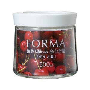 (まとめ)フォルマ 密閉ガラスポット 500ml ホワイト MG-500 1143 (ガラス容器) 【×3セット】 - 拡大画像