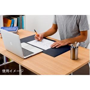 高級PVCレザー デスクマット 【01:ブラック】 620×300mm カット可 日本製 〔DIY素材 背景 クラフト用品〕