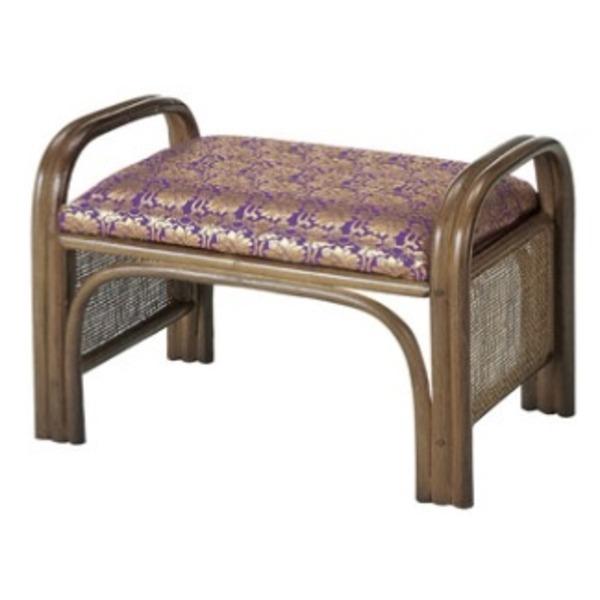 籐製 ご仏前らくらく椅子/腰掛椅子 【座面高31cm】 ラタンフレーム×金襴布地張りクッション 取っ手付き