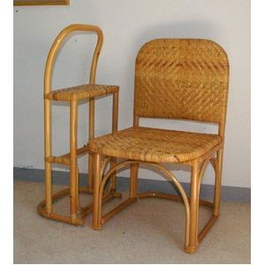 籐チェア&おつかまり楽々セット 立ち座り補助 膝楽  - 拡大画像