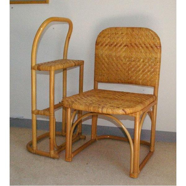 立ち座も楽な「籐チェア&おつかまり楽々セット 立ち座り補助 膝楽」