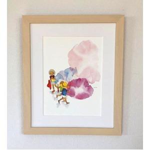 アートポスター いわさきちひろ 「朝顔と3人の子供」 マット付き本格的豪華額装 日本製 - 拡大画像