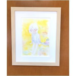 アートポスター いわさきちひろ 「黄色い背景の中」 マット付き本格的豪華額装 日本製 - 拡大画像