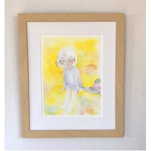 アートポスター いわさきちひろ 「黄色い背景の中」 マット付き本格的豪華額装 日本製