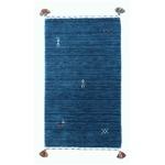 インドハンドルームギャベマット/ラグマット 【長方形/約60cm×90cm】 ブルー ウール100% BL