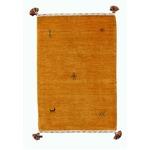 インドハンドルームギャベマット/ラグマット 【長方形/約60cm×90cm】 イエロー ウール100% YE