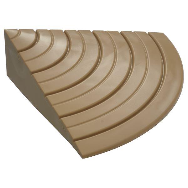 段差プレート 【サイド用】 ライトブラウン 長さ100×出幅100×高さ30(10〜30)mm 防滑 柔軟仕様 『安心スロープ』