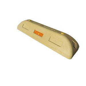 【2本セット】 リサイクル車止め/エコストップ 【高さ100mm 黄色】 反射プレート付き スクリューアンカーセット
