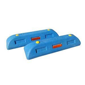 【2本セット】 リサイクル車止め/エコストップ 【高さ100mm 青色】 反射プレート付き スクリューアンカーセット - 拡大画像