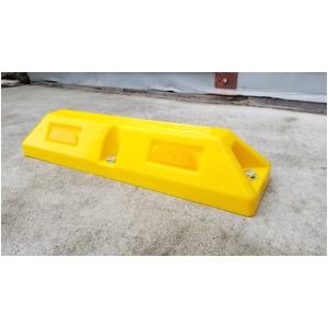 リサイクル車止め/パーキングストップ2本セット 【高さ100mm 黄色】 反射プレート付き スクリューアンカーセット
