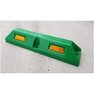 リサイクル車止め/パーキングストップ12本セット 【高さ100mm 緑色】 反射プレート付き スクリューアンカーセット