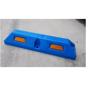 リサイクル車止め/パーキングストップ12本セット 【高さ100mm 青色】 反射プレート付き スクリューアンカーセット