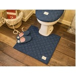 LaidBack トイレマット/トイレ用品 【60×60cm ライトブルー】 デニム生地 洗える すべり止め加工