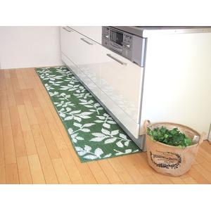 吸着キッチンマット/台所マット 【45×180cm グリーン】 洗える 日本製 『リーフ』 - 拡大画像