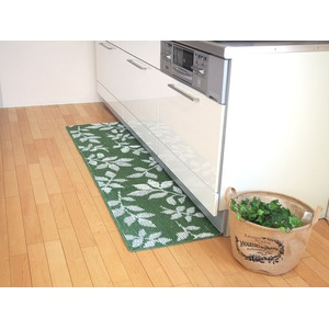 吸着キッチンマット/台所マット 【45×240cm グリーン】 洗える 日本製 『リーフ』 - 拡大画像