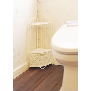 コーナーラック/トイレ収納 【ホワイト】 スチール製 『ファミーユ』 - 拡大画像