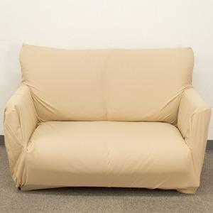 毛玉になりにくいストレッチ ソファーカバー / ソファーベッド用 3人掛け 肘なし ベージュ / ミクロワッフル生地 洗える 『プチ』