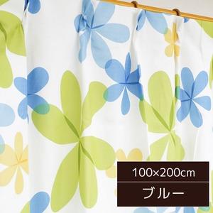 可愛らしい北欧風カーテン 2枚組 100×200cm ブルー リーフ柄 子供部屋 パルティ - 拡大画像
