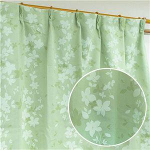 洗える1級遮光カーテン/目隠し 【2枚組 105×178cm/グリーン】 花柄 タッセル・アジャスターフック付き 『ローリア』 - 拡大画像