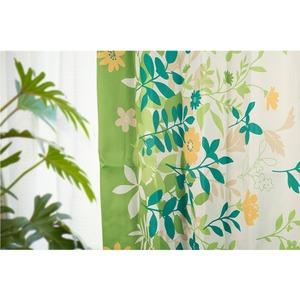 6種類から選べるリーフ柄遮光カーテン 【2枚組 100×178cm/グリーン】 形状記憶 洗える ボタニカル柄 『フロー』 - 拡大画像