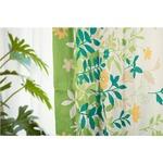 6種類から選べるリーフ柄遮光カーテン 【2枚組 100×178cm/グリーン】 形状記憶 洗える ボタニカル柄 『フロー』