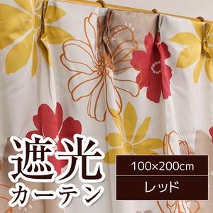 南国風遮光カーテン/目隠し 【2枚組 100×200cm/レッド】 花柄 洗える 『ソラン』 h02