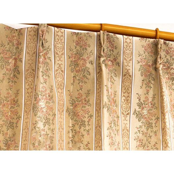 エレガントで華やかな遮光カーテン/目隠し 【2枚組 100×200cm/ローズ】 3級遮光 二重加工 洗える 形状記憶 『メルシャ』