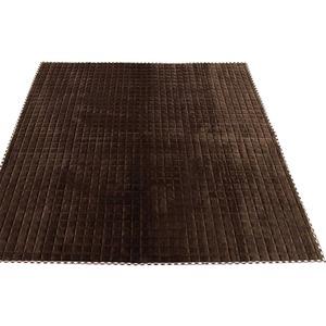 7色から選べる キルティングラグ 185×185cm ブラウン ラグ 敷布団 ホットカーペット対応 洗える シンプル キルト 縁チェック柄 エース掛け - 拡大画像