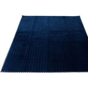 7色から選べる キルティングラグ 200×250cm ネイビー ラグ 敷布団 ホットカーペット対応 洗える シンプル キルト 縁チェック柄 エース掛け - 拡大画像