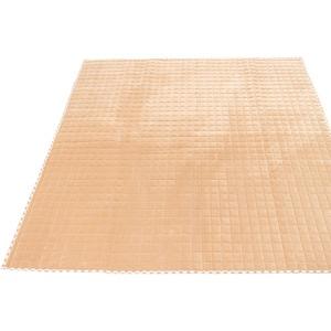 7色から選べる キルティングラグ 200×250cm ベージュ ラグ 敷布団 ホットカーペット対応 洗える シンプル キルト 縁チェック柄 エース掛け - 拡大画像