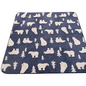 ラグ 185×185cm 正方形 ネイビー 洗える ラグマット ホットカーペット対応 床暖房 秋用 冬用 ジャガード白クマラグ - 拡大画像