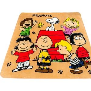 ラグマット/絨毯 【185cm×185cm 正方形 ベージュ】 洗える ホットカーペット 床暖房対応 防音 『スヌーピーフレンズラグ』