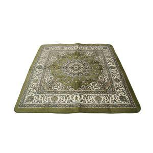 ボリューム ラグマット/絨毯 【185cm×185cm 正方形 グリーン】 ホットカーペット/床暖房可 『エルバボリュームラグ』