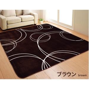 ボリューム ラグマット/絨毯 【185cm×185cm 正方形 ブラウン】 ホットカーペット/床暖房可 『サークルボリュームラグ』