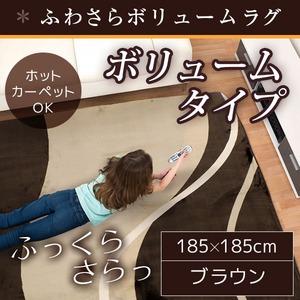ラグ ボリュームタイプ 185×185cm 正方形 ブラウン ラグマット ホットカーペット対応 床暖房 秋用 冬用 ウェーブボリュームラグ - 拡大画像