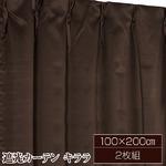 10色から選べる遮光カーテン 2枚組 100×200 ブラウン 無地 シンプル 洗える タッセル付き キララ